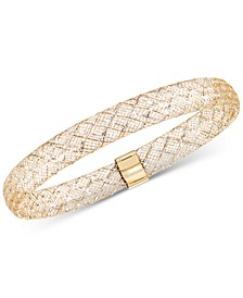 Two-Tone Wire Stretch Bangle Bracelet in 14k Gold & White Gold