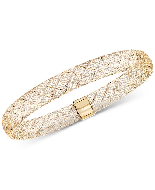 Italian Gold Two-Tone Wire Stretch Bangle Bracelet in 14k Gold & White Gold