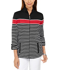Plus Size Striped Jacket, Created for Macy's