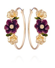 Winter Garden Flower Hoop Earrings