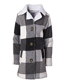 Big Girl Plaid Faux Wool Jacket