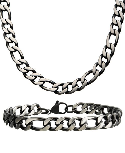 "INOX Figaro Link 8"" Bracelet and 22"" Necklace Set"