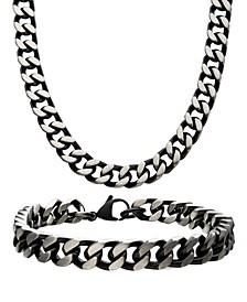 "Curb Chain 8"" Bracelet and 22"" Necklace Set"