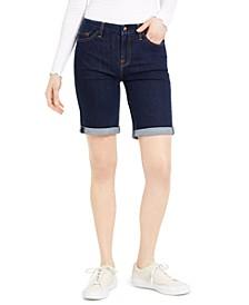 Denim Bermuda Shorts With Rolled Cuffs