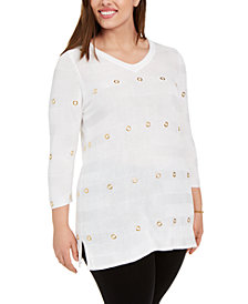 Belldini Plus Size Striped Grommet 3/4-Sleeve Top