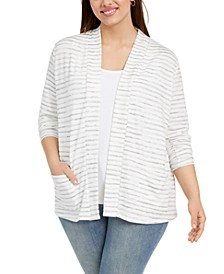 Plus Size Striped Open-Front Cardigan Sweater
