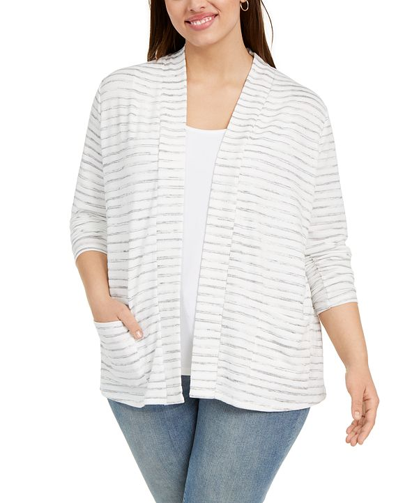 Belldini Plus Size Striped Open-Front Cardigan Sweater
