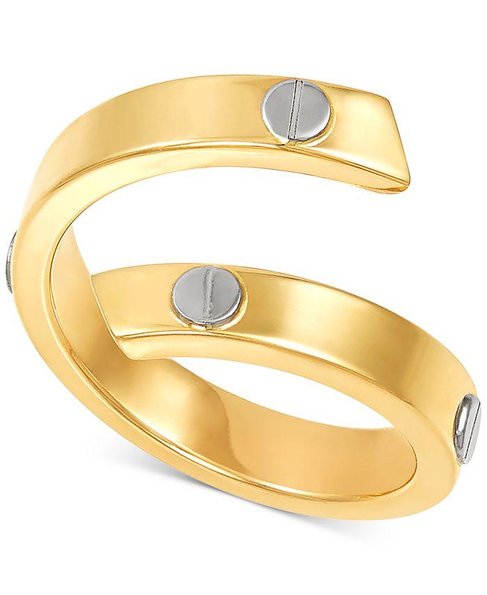 Italian Gold - Rivet Coil Statement Ring in 10k Gold & White Gold