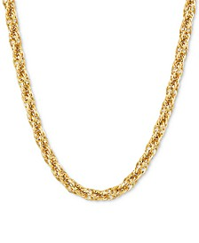 """Glitter Rope Link 18"""" Chain Necklace (5.20mm) in 14k Gold"""