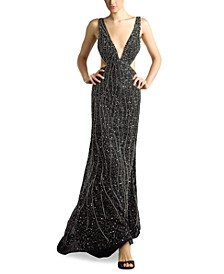 Beaded Cutout Plunge Gown