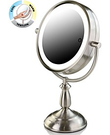 "8.5"" Dual-Sided LED Lighted Makeup Mirror with Timer"