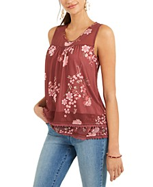 Floral-Print Mesh Tank Top, Created For Macy's