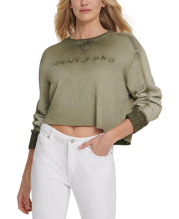 DKNY Jeans Cropped Logo-Print Cotton Top