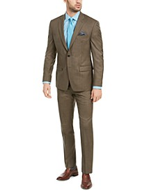 Men's Classic-Fit UltraFlex Stretch Brown Sharkskin Suit Separates