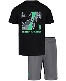 Little Boys 2-Pc. Boxed Logo T-Shirt & Shorts Set