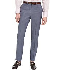 Men's Slim-Fit Stretch Blue/Gray Suit Pants