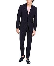 Men's Slim-Fit Stretch Navy Blue Seersucker Stripe Suit Separates
