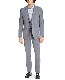 Men's Premium Slim-Fit Stretch Textured Grid Tech Suit