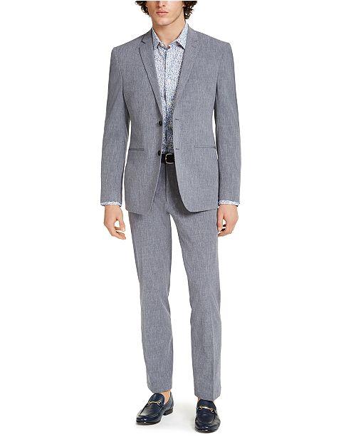 Perry Ellis Men's Premium Slim-Fit Stretch Textured Grid Tech Suit