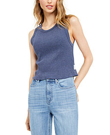 Calvin Klein Jeans Sleeveless Waffle-Knit Crop Top