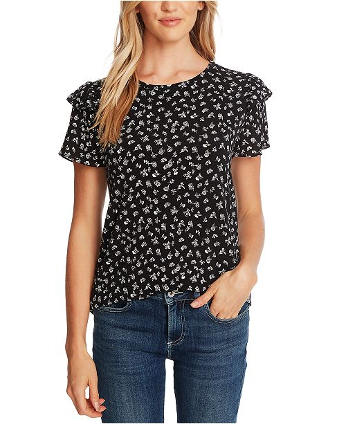 CeCe Floral-Print Tiered-Sleeve Top