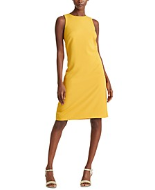 Snap-Trim Crepe Shift Dress