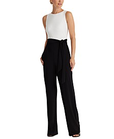 Petite Two-Tone Jersey Jumpsuit