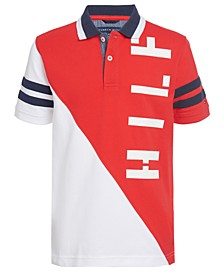 Big Boys Pieced Colorblocked Logo Polo Shirt