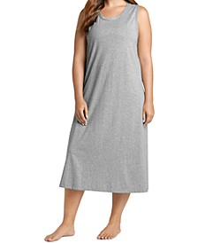 Plus Size Sleeveless Long Cotton Chemise Nightgown