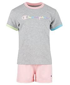 Little Girls 2-Pc. Ringer T-Shirt & Shorts Set