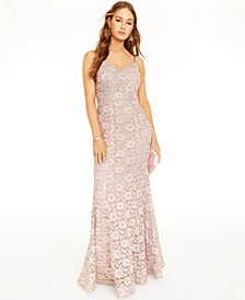 Juniors' Glitter & Lace Gown
