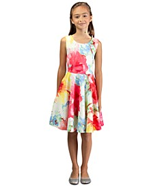 Big Girls Floral Open-Back Skater Dress