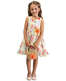 Toddler Girls 2-Pc. Straw Flower Bag & Ruffled Dress Set