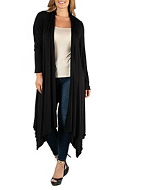 Long Sleeve Knee Length Open Plus Size Cardigan