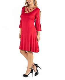 Plus Size Knee Length Cold Shoulder Dress
