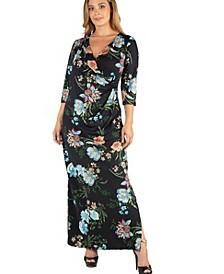 Floral V-Neck Side Slit Plus Size Maxi Dress