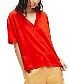 Women's Relaxed-Fit Solid Cotton-Jersey V-Neck T-Shirt