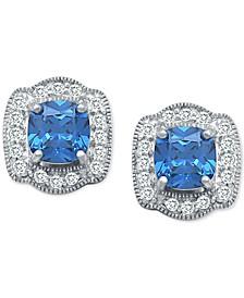 Cubic Zirconia Cushion Halo Stud Earrings in Sterling Silver