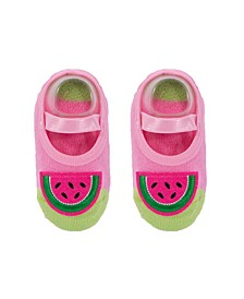 Baby Boys and Girls Anti-Slip Cotton Socks with Watermelon Applique