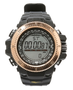 Everlast Mens Digital Multiple Display Black Rubber Strap Sports Watch 51mm In Rose Gold And Black