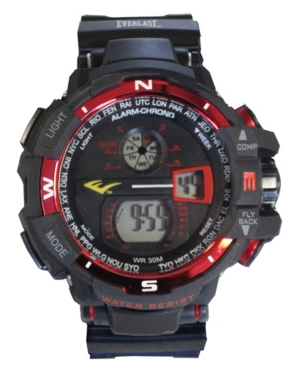 Everlast Mens Black Rubber Strap Digital Multiple Display Sports Watch 51mm In Red And Black
