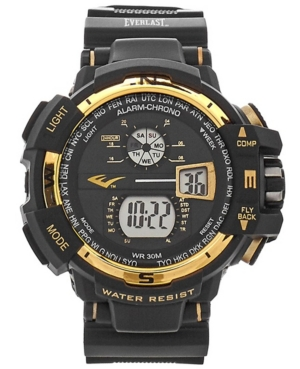 Everlast Mens Black Rubber Strap Digital Multiple Display Sports Watch 51mm In Gold And Black