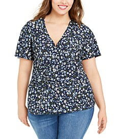 Plus Size Twisted Floral-Print Top