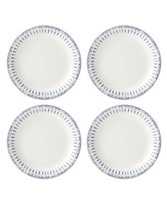 Profile Accent Plate Set/4 White/Navy