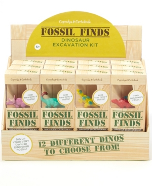 Two's Company 24 Pc Fossil Finds Excavation Kit with Dino Figure in Gift Box