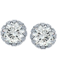 Cubic Zirconia Crown Stud Earrings in Sterling Silver