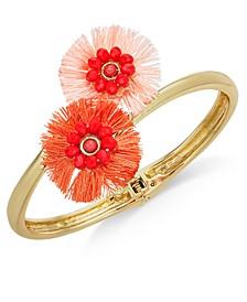 INC Gold-Tone Beaded Fringe Flower Bypass Hinge Bracelet, Created for Macy's