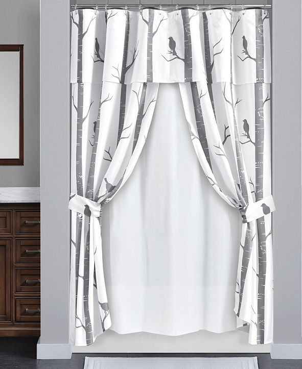 Lush Decor Bird On The Tree 16Pc Shower Curtain Set