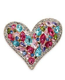 Rose Gold-Tone Multi-Crystal Heart Pin, Created for Macy's