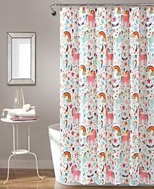"""Unicorn Heart 72"""" x 72"""" Shower Curtain"""